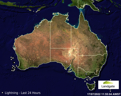 Map showing latest detected lighning accross Australia