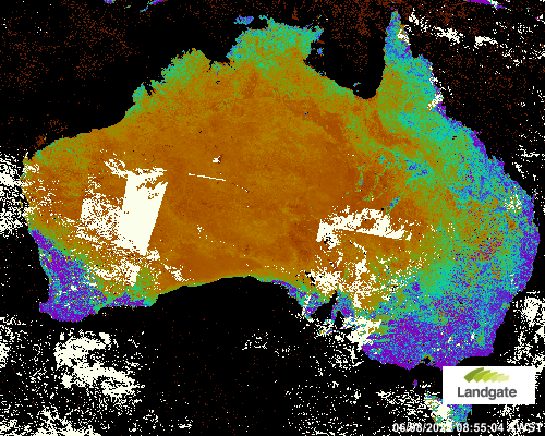 Map showing the current greenness values for the previous week accross Australia