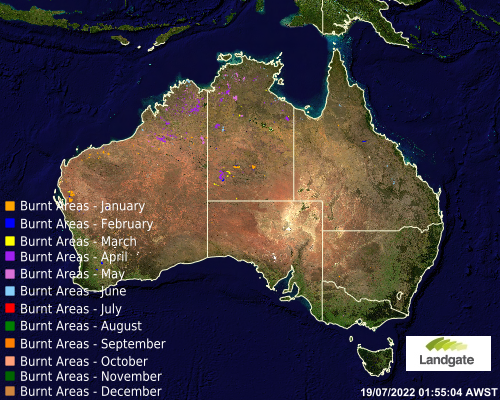Map showing known burnt areas accross Australia for the year to date